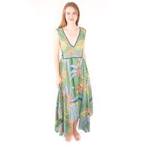Mariah ANGIE Green Floral Scarf Print Midi Dress